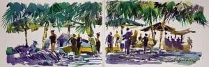 Richard Jansen – Saturday Market – watercolor Pinellas Park Society of Arts