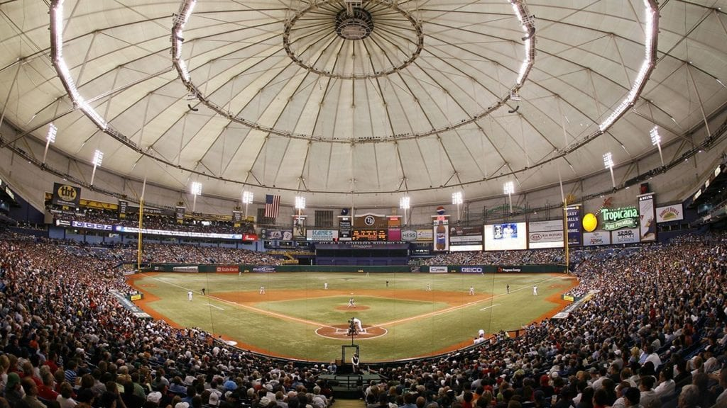 Players at Tropicana Field